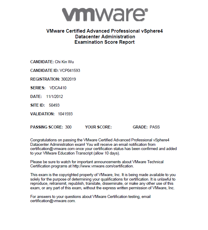 Vcap4 Dca Passed Victor Virtualization