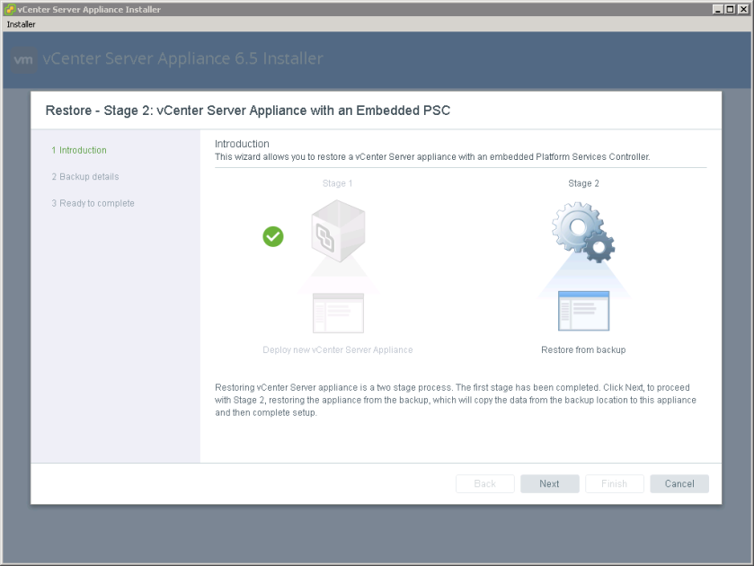 vCenter Server Appliance File-Based Restore – Victor
