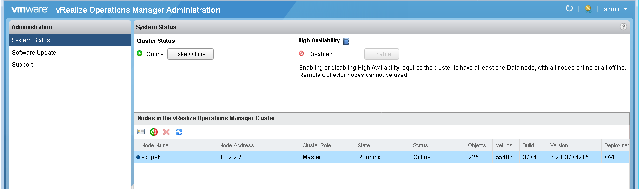 Upgrade VMware vRealize Operations Manager 6 2 to 6 5